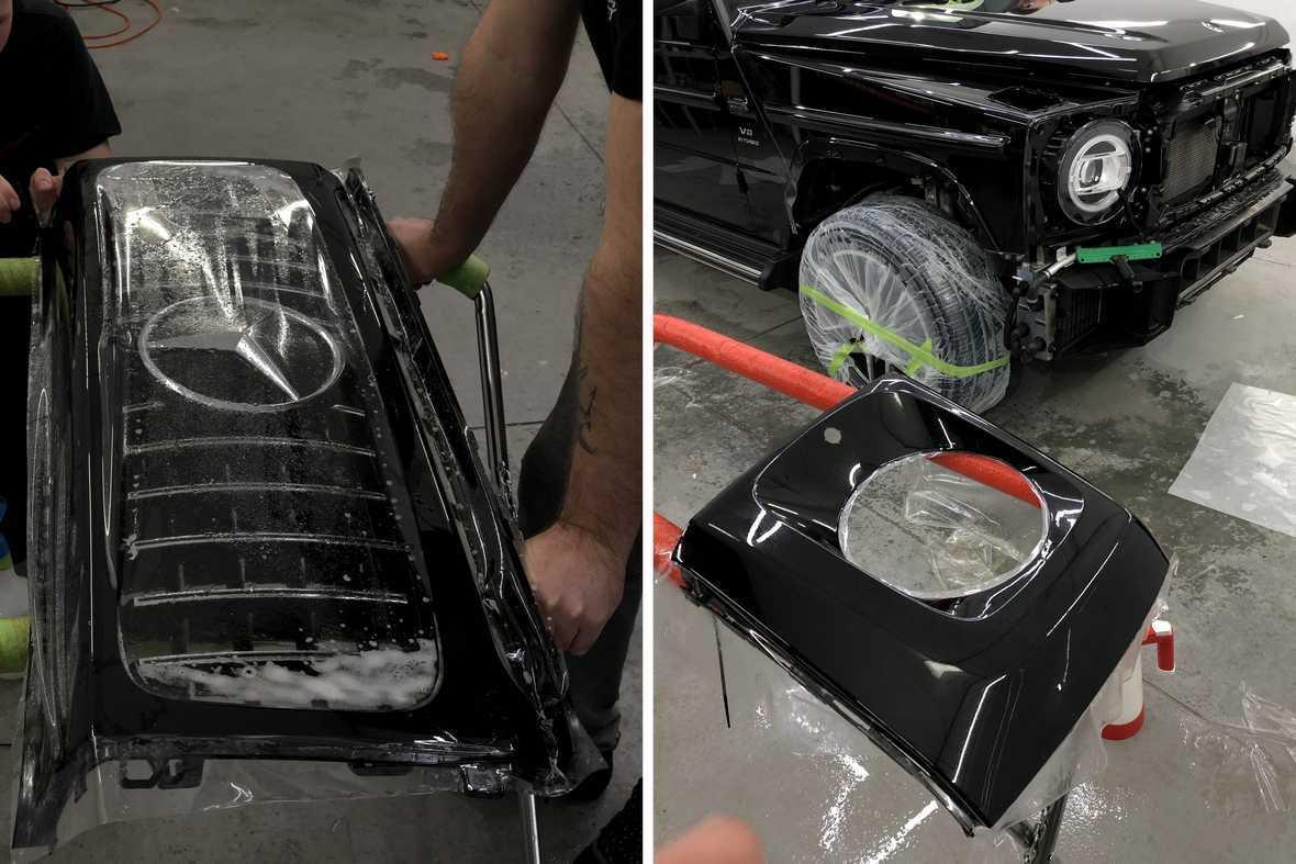 На фото процесс оклейки радиаторной решетки у Mercedes-Benz G-klasse.